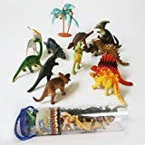 "MICHLEY 3.2"" Mini Dinosaur Assortment Set of 12 Dinosaur Figures Toy with Plastic Storage Drum by Imagination Generation"