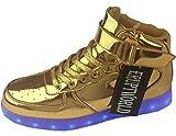 eruptworld Mujer Zapatos Lace Up ligero USB LED de carga Zapatillas Light Up para hombre, color Dorado, talla 12 B(W)