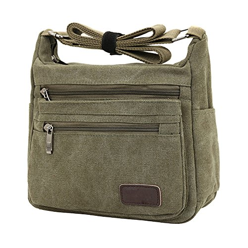 Green Handbags Bag Messenger Body Shoulder Army Multi and Zipper Canvas Pockets Cross Men for Bag Women Z0aUqRw