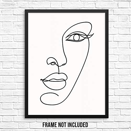 Abstract Womans Face Wall Decor Art Print Poster - Female One Line Silhouette -11 x14 UNFRAMED- Modern Minimalist Fashion Artwork for Bedroom Living Room Bathroom Office (11x14 Half FACE)
