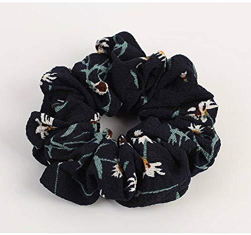 Women Floral Elastic Ponytail Bun Tie Scrunchies Hair Band Hairband Accessories (Colour - #2-02 Floral Navy)