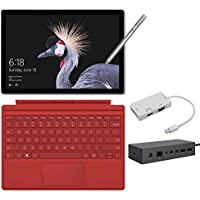 2017 New Surface Pro Bundle ( 5 Items): Core i7 16GB 512GB Tablet, Surface Dock, Surface Type Cover Red (2016), Surface Pen Silver, Mini DisplayPort Adaptor