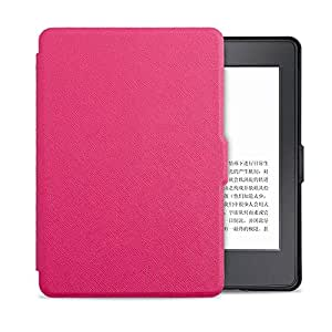 Leather Smart Magnetic Sleep Wake Case Cover Shell for Amazon Kindle Paperwhite Hot Pink