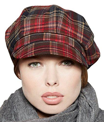 Loevenich Kappe Damen Schirmmütze Balloncap Ballonmütze mit schickem Karo-Muster, Farbe: Rot