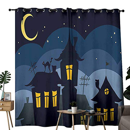 Room Darkening Wide Curtains Halloween Old Town with Cat on The Roof Night Sky Moon and Stars Houses Cartoon Art Black Yellow Blue Tie Up Window Drapes Living Room W72 xL84