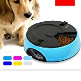 6 Meal Timed Auto Pet Feeder Dog Cat Digital Display Time-lapse Automatic Tray Blue