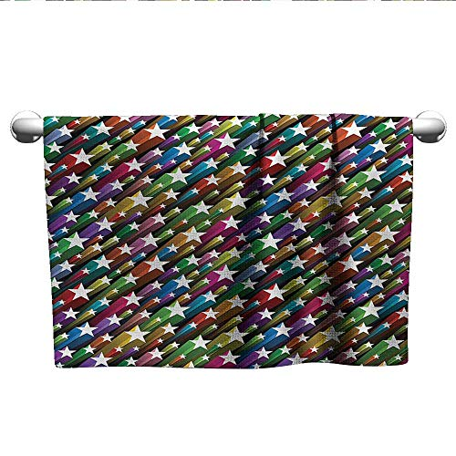 "alisoso Colorful,Personalized Towels Colorful Stars Pattern Celebration Theme Disco and Nightclubs Artistic Jolly Fun Fade-Resistant Multicolor W 35"" x L 12"" from alisoso"