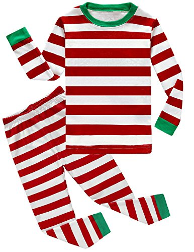 Boys Girls Christmas Striped 2 Piece Kids Pajamas Toddler Sleepwear 100% Cotton size 8T