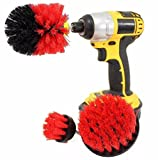 Nesix 3Pcs Scrub Brush Drill Attachment Kit Diameter Drill Powered Cleaning Brush Attachments Kit Time Saving Cleaning Kit, Great for Cleaning Bathroom surface, Tile, Flooring, Ceramic (Red)