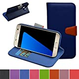 Galaxy S7 Plus Case,Mama Mouth [Stand View] Premium PU Leather [Wallet Case] With Built-in Media Stand ID Slots and Inner Pocket Cover For Samsung Galaxy S7 Plus 2016 Smartphone,Dark Blue
