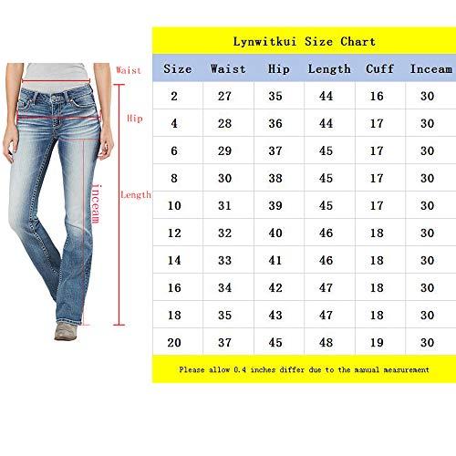 b32bd94bdf7 Lynwitkui Womens Basic Bootcut Jeans Low Rise Stretch Slim Fit Straight  Legs Denim Pants