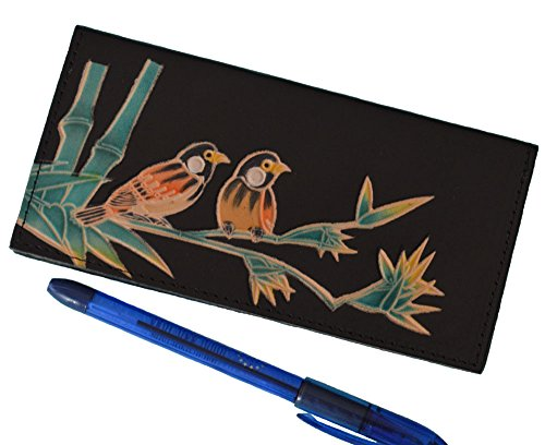 Genuine Leather Checkbook Cover, Love Birds on Bamboo Pattern Embossed on both side (Black)