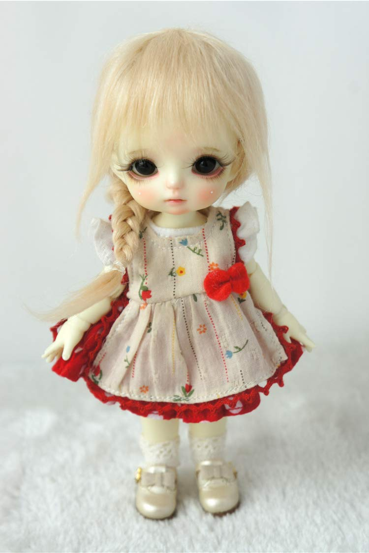 JD211 5-6inch 6-7inch Frozen Ana Princess Braid Mohair Doll Wigs (Blond, 5-6inch)