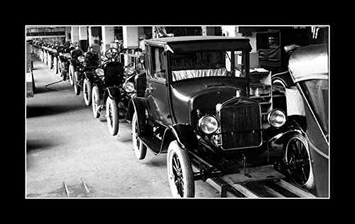 8 x 10 All Wood Framed Photo Assembly Line Model T Ford
