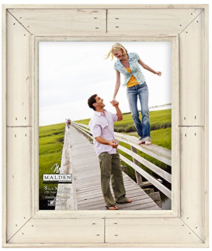 Malden International Designs Sun Washed Woods Sand Distressed With Inner Frame Border Picture Frame, 8x10, - Sun Frame