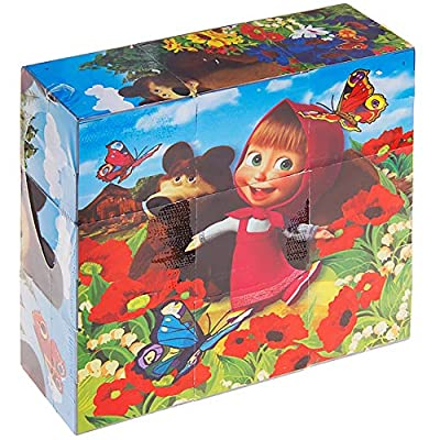 Jigsaw Cube Puzzles Masha and The Bear Educational Preschool Toy - Russian Block Puzzle for Kids 3+: Toys & Games