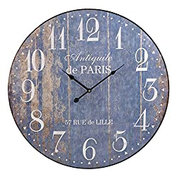 Panorama Gifts 60Cm Extra Large Round Wooden Wall Clock Vintage Retro Style (Paris - 57 Rue De Lille)