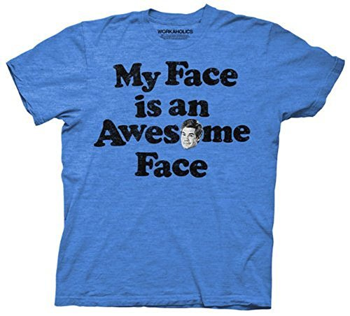 Workaholics Adam My Face is an Awesome Face Adult Heather Blue T-Shirt (Adult Small)]()