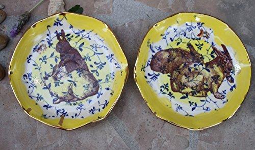 Bunny Plate set of 2 handmade ceramic dinnerware (Set Dining Marina)