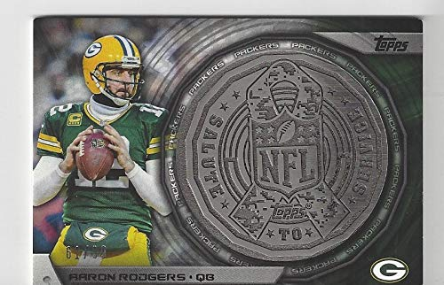 (Aaron Rodgers Serial Numbered #61/199 Commemorative NFL Kickoff Coin - 2014 Topps Football Card #NFLKC-AR (Green Bay Packers) Free Shipping)