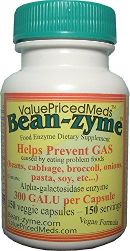 Bean-zyme VEGAN anti-gas 300 GALU/cap vs Beano 150 GALU/tab. Bean-zyme contains 150 caps/bottle