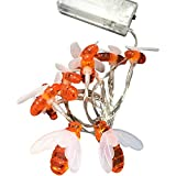 Loriver Battery Operated Bee-Shaped String Lights Christmas Children's Room Party Animal Decorative Lights, 1 Meter 10 Lights