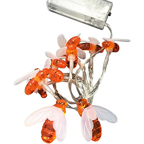 Loriver Battery Operated Bee-Shaped String Lights Christmas Children's Room Party Animal Decorative Lights, 1 Meter 10 Lights by Loriver