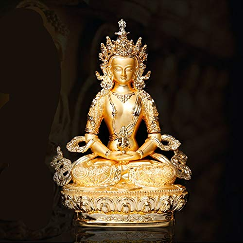 Office Decoration Buddhist Statue - Longevity/Amitayus 5inch Efficacious Tranic Gold Buddha Alloy Metal Buddhist Suppliers Home/Office Decorate Statue Craft 1 PCs (Base Supplier Sculpture)