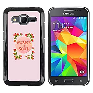 LECELL--Funda protectora / Cubierta / Piel For Samsung Galaxy Core Prime SM-G360 -- Awake Soul Inspiring Spring Flowers Peach --