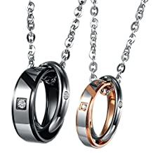 UM Jewelry His and Hers Stainless Steel Crystal Double Rings Engraved Puzzle Pendant Couple Necklace