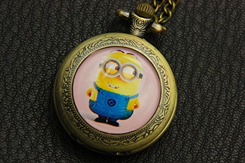 Cute Minions Pocket Watch,Cute Minions Necklace,Cute Minions Picture,Vintage Bronze Jewelry,]()