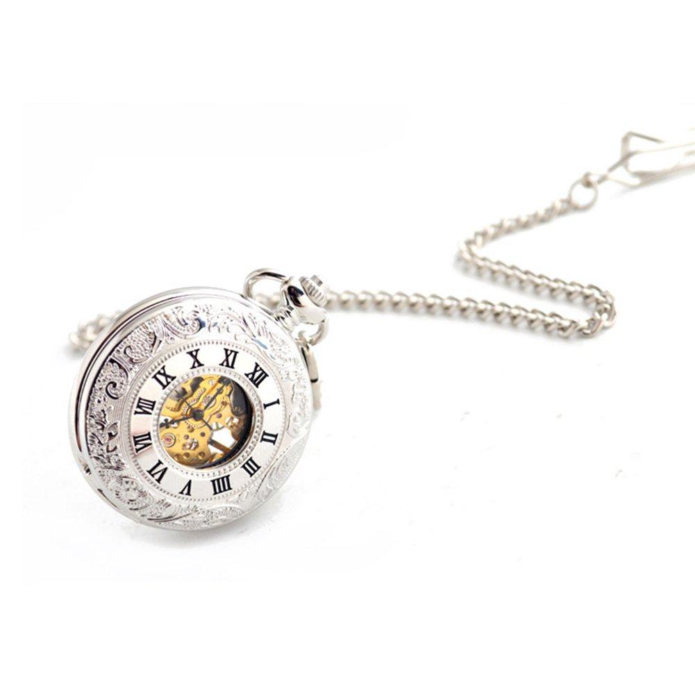 SW Watches Reloj De Bolsillo Mecánico Automático Esqueleto Romano Hueco,Silver: Amazon.es: Hogar