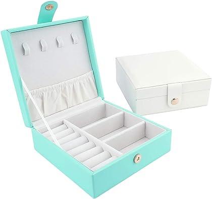 iSuperb Caja Joyero Mujer Jewelry Box Travel Pequeña Organizador Joyeria Pulseras Caja Anillos Collares Ring Box Portatil Joyero Viaje Caja Exhibición de Joyería (Azul): Amazon.es: Joyería