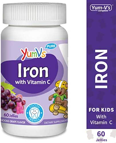 YUM-V's Iron Jellies/Gummy Bears for Kids w/Vitamin C, Grape Flavor Chewables; Daily Dietary Supplement for Children, Vegan, Kosher/Halal, Gluten Free (60 Ct)