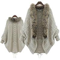 Jushye Hot Sale!!! Womens Cardigan Coat, Ladies Women Loose Faux Fur Collar Sweater Batwing Sleeve Knit Cardigans Knitwear
