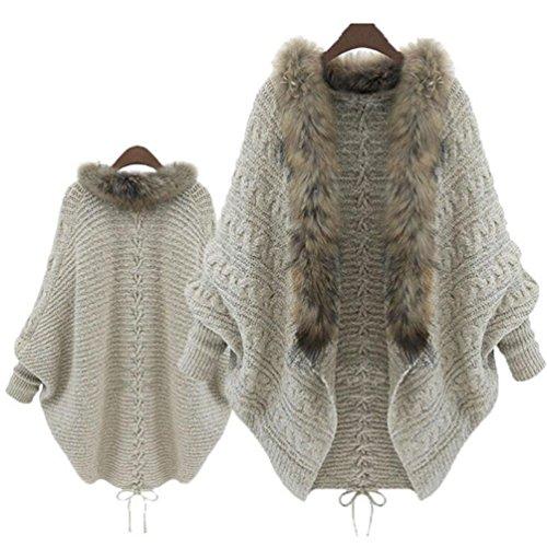 Jushye Hot Sale!!! Women's Cardigan Coat, Ladies Women Loose Faux Fur Collar Sweater Batwing Sleeve Knit Cardigans Knitwear (Fur Sleeve Faux Boot)