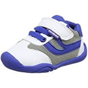 pediped Boys' Cliff Crib Shoe, White/Blue, 20 Regular EU Toddler (5 US)