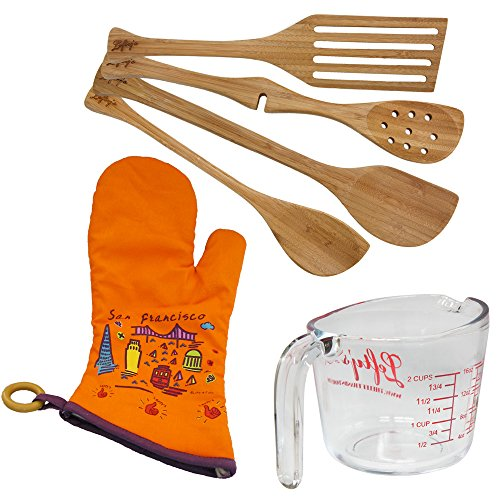 6 Piece Left Handed Bakers Kitchen Set with utensils, Measuring Cup, and orange mitt
