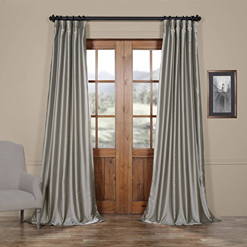 Panel Curtain Platinum (Half Price Drapes PTCH-JTSP112-108 Faux Silk Taffeta Curtain, Platinum)