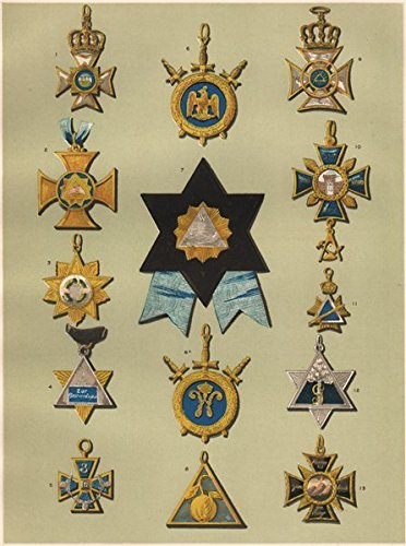 FREEMASONRY. A Representative Selection of German Lodge Jewels. Germany - 1882 - old print - antique print - vintage print - Freemasonry art prints (German Jewels)