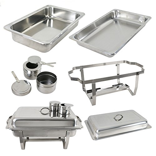 ZENY 8 Quart Full Size Stainless Steel Chafing Dish with Water Pan and Chafing Fuel Holder,Complete Chafer Set (Pack of 2)