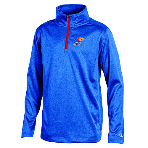 Champion (CHAFK) NCAA Kansas Jayhawks Youth Boys Lightweight Quarter Zip W Sweat Shirt, Small, Blue - Kansas Zip