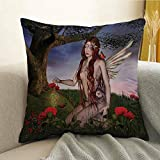 Fantasy Microfiber Redhead Fairy with Wings Holding a Butterfly Catcher Lantern Surrounded by Poppies Sofa Cushion Cover Bedroom car Decoration W24 x L24 Inch Multicolor