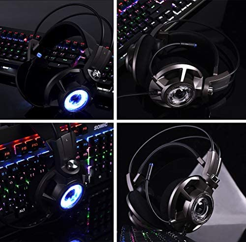 SHENGY USB Virtual 7.1 Surround Sound Game LED Headset with Omni-Directional Microphone Noise Cancelling Bass Vibration for PC PS4 Gamers