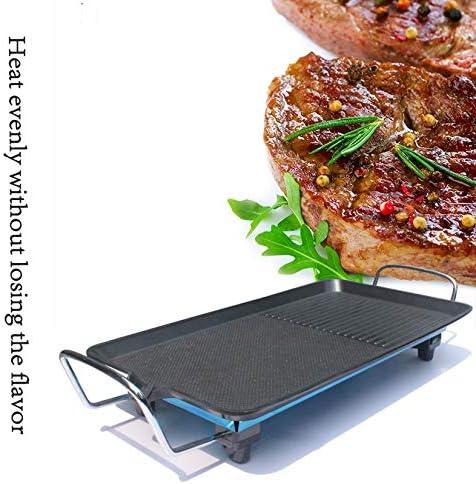 Électrique Teppanyaki Table Grill, Grill Barbecue électrique, Non-Stick Griddle Barbecue Plaque BBQ Hot pour l'intérieur extérieur,48x27cm