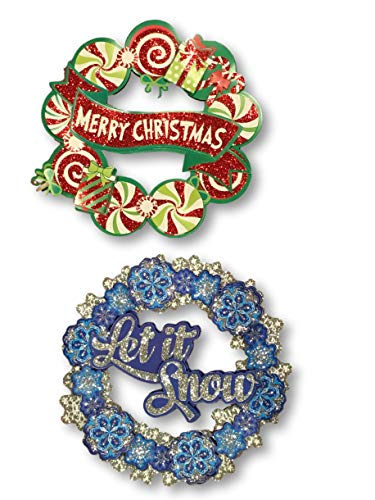 - Plum Nellies Treasures Christmas Cutouts - Set of 2 - Peppermint Candy Merry Christmas Glitter & Snowflake Let it Snow Glitter - 4 Layers