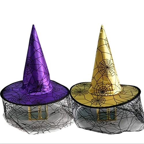 Elsas Hat Witch Halloween Witch Hat with Spider Halloween Costume CosplayParty Activities Sorcerer Wizard Dress Up Christmas (Random)