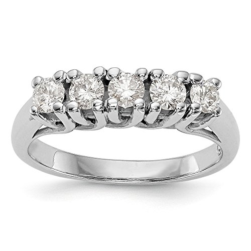 JewelrySuperMart Collection 1/2 CT 14k White Gold 5 Stone Diamond Anniversary Band. 0.515 ctw.