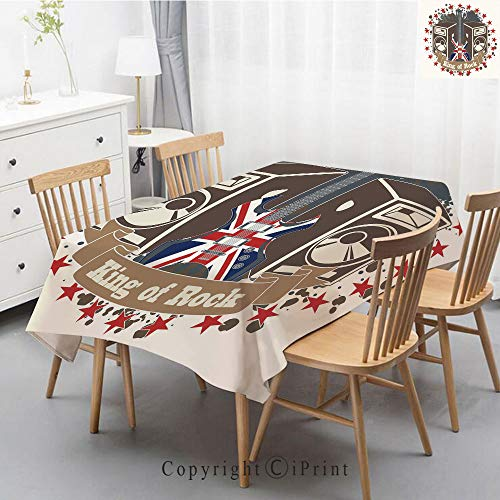 (Print Series Rectangle Tablecloth Cotton and Linen Dust proof Absorption Table Cover for Photography Background Dining,55x102 Inch,Popstar Party,King Rock Label with Speakers Stars and Electric Guitar)