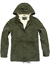Womens Military Army Hooded Sherpa Lining Drawstring Parka Jacket Coat